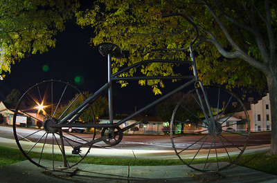 Single-track sculpture in front of the Fruita Civic Center.
