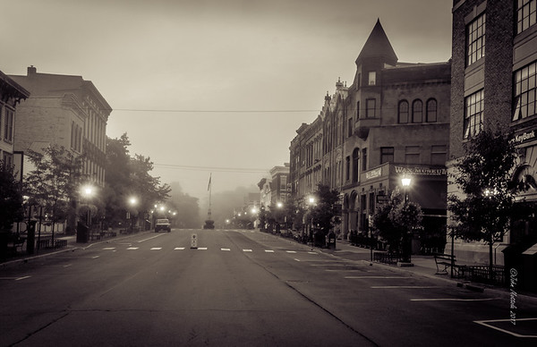 Foggy Morning on Cooperstown Main Street