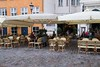 Along the cobblestones of Nyhavn,  Jan waits at McJoy's Choice restaurant for our lunch to be served.