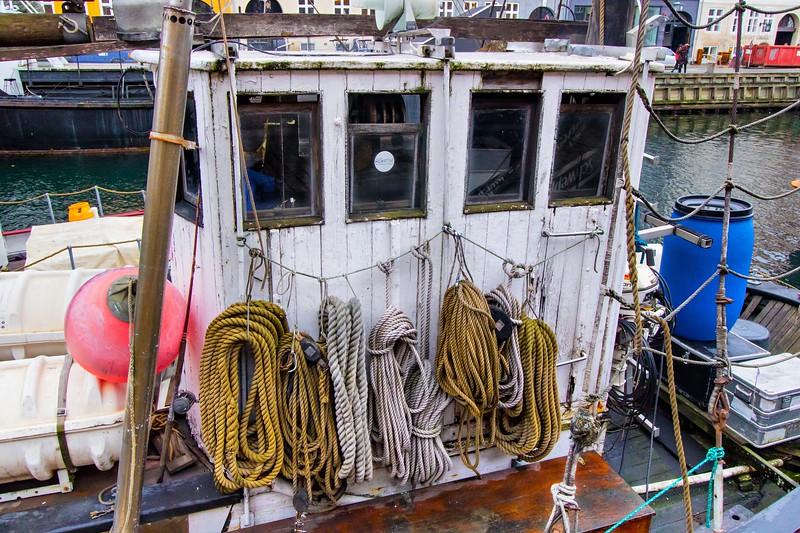 Wheelhouse on a working fishing vessel.