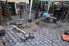 Cobblestone repair crew working on Nyhavn street.