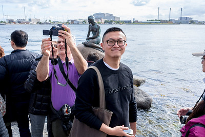 Copenhagen, Denmark, Crowd of Chinese Tourists Visiting Little Mermaid Statue