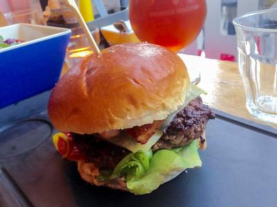 Copenhagen, Denmark, American Food Restaurant, Hamburger, detail,
