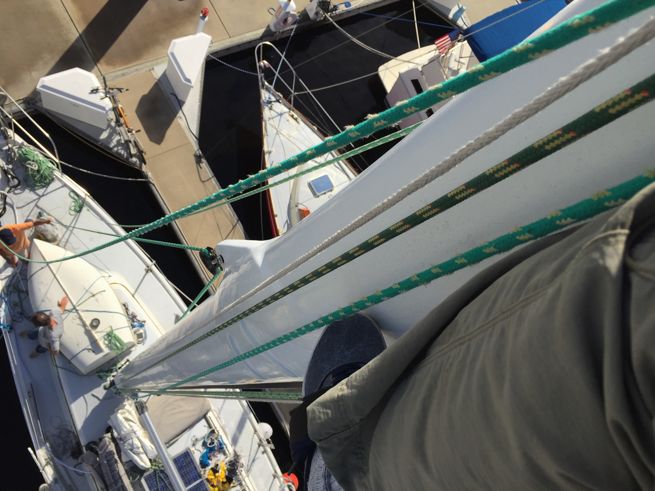 Staysail attachment and block