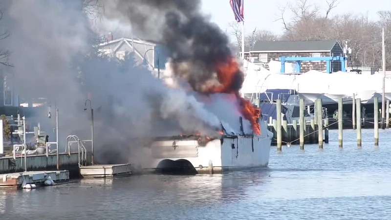 Copiague Boat Fire