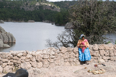 Tarahumara woman selling art work