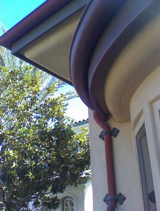 Curved weathered copper gutter and fascia cover, Point Loma, CA