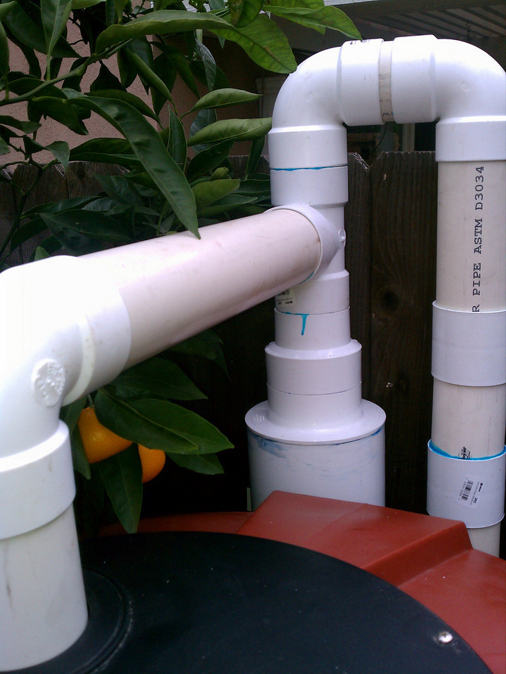 "From the right: the first white pipe is the inlet line from the gutter, the second fatter line is the first flush device and the left white pipe is the inlet to the rain barrel. <a href=""http://www.rain-watersystems.com/"">http://www.rain-watersystems.com/</a>"