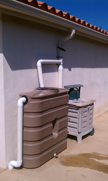 """First flush device and 130 gallon Bushman rain tank in San Diego County. This customer qualified for a rebate.<br /> <br />  <a href=""""http://www.rain-watersystems.com/"""">http://www.rain-watersystems.com/</a>"""