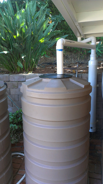 Imperial Beach patio, with first flush device and tanks