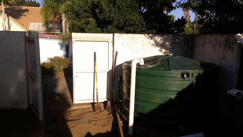 This 1,100 gallon low profile cistern was installed late in 2012 in Escondido, CA