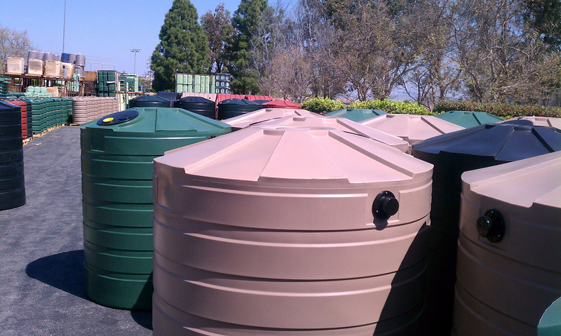 "There are usually dozens of larger cisterns in stock in a variety of colors<br /> <br />  <a href=""http://www.rain-watersystems.com/"">http://www.rain-watersystems.com/</a>"