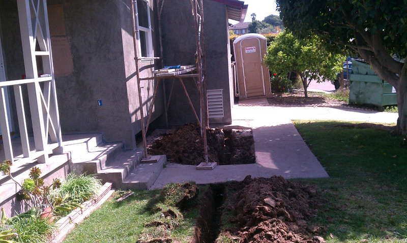 """Trench of underground pipe to tanks.<br /> <br />  <a href=""""http://www.rain-watersystems.com/"""">http://www.rain-watersystems.com/</a>"""