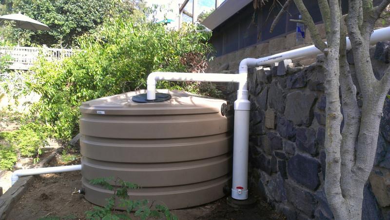 Bushman Mocha 1,100 gallon Bushman raintank in Del Mar, CA
