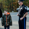Lunenburg Police Chief James Marino greets 11-year-old Brandon Cotoni at the department on Friday, October 27, 2017. Brandon has been battling Neuroblastoma since being diagnosed in November 2016, and received a $5,000 check from Cops for Kids with Cancer on Friday. SENTINEL & ENTERPRISE / Ashley Green