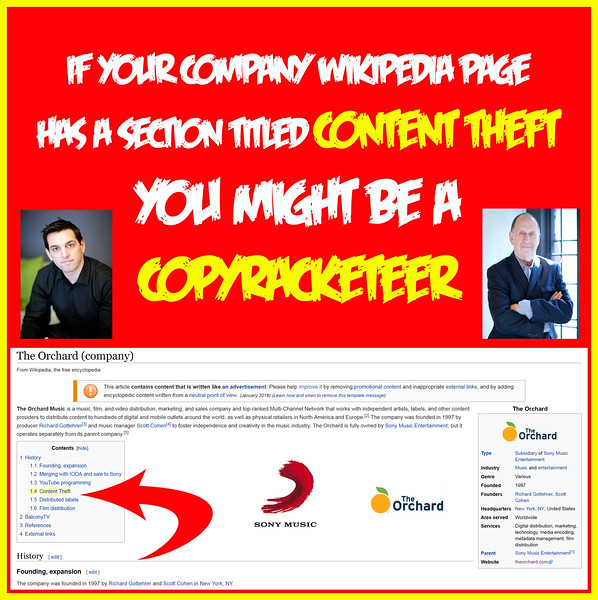 Sign You Might Be A Copyracketeer - CONTENT THEFT Section On Wiki Page
