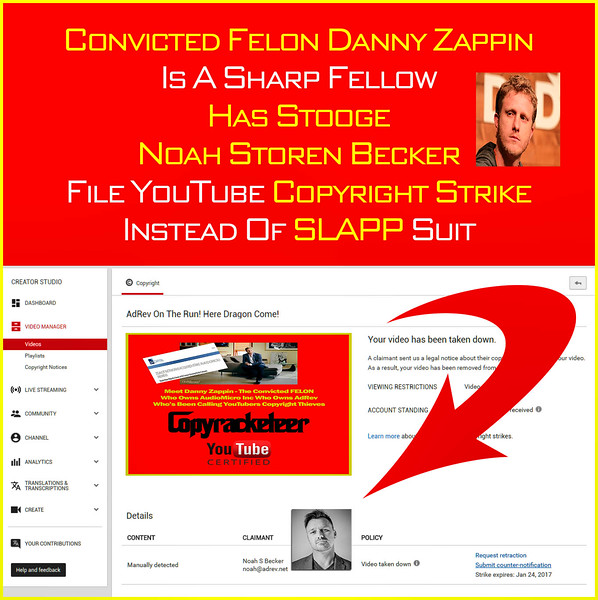 "No Cease & Desist Letter - Banned From Going LIVE On YouTube By A Convicted Drug Felon DANNY ZAPPIN's AdRev Featuring Noah ""Plash"" Becker"