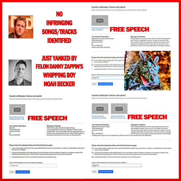 UPDATE 11-16-16 ALL Five Videos RESTORED By YouTube After Dragon's COUNTER NOTIFICTATIONS Set In Motion DMCA Legal Process--Noah Becker Swore Under Penalty Of Perjury That I Was A Copyright Infringer THEN NEVER RESPONDED TO FIVE COUNTER NOTIFICATIONS--Is There A Fine/Penalty For Making False DMCA Takedowns?