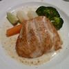 Broiled salmon with lemon and dill sauce, parsley potatoes and vegetable saute
