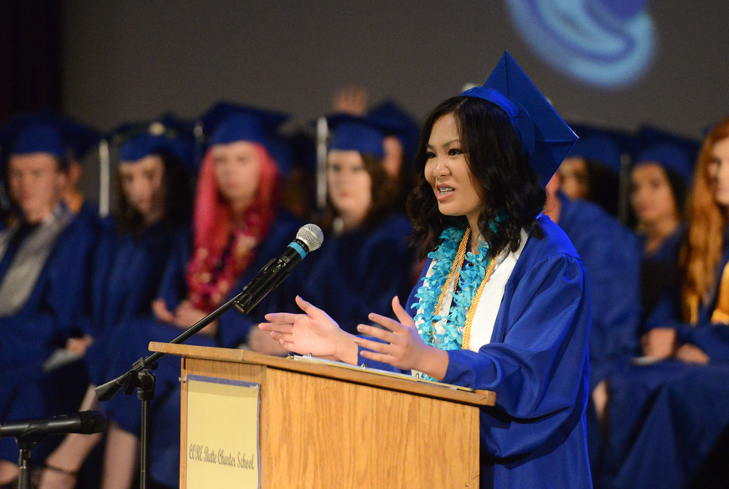 . Valedvictorian Grace Diep speaks to the audience, May 24, 2018,  in Chico, California. (Carin Dorghalli -- Enterprise-Record)