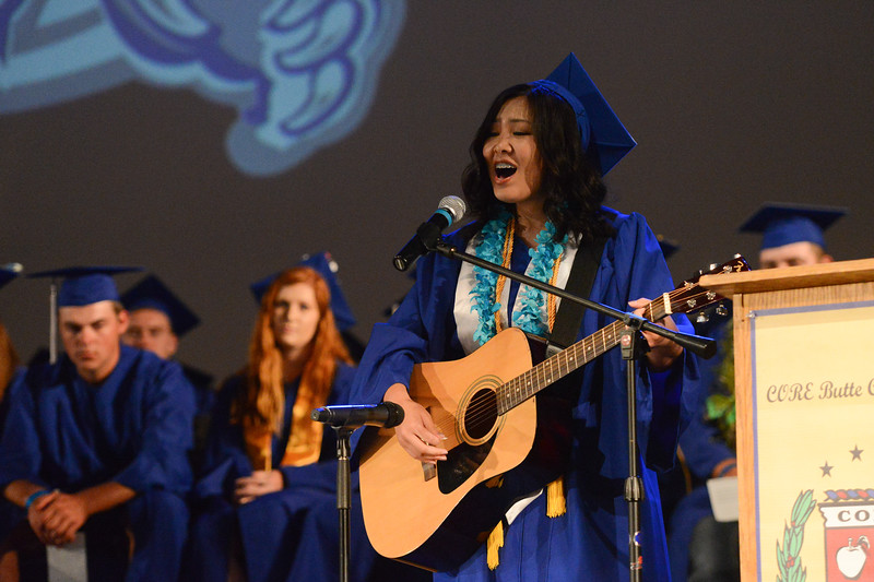 Valedvictorian Grace Diep sings for the audience, May 24, 2018,  in Chico, California. (Carin Dorghalli -- Enterprise-Record)