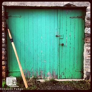 Green door and oar