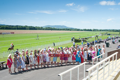 18th June 2017; Pictured with the 2016 Cork Rose, Denise Collins from Knocknaloman are the 2017 Cork Rose contestants enjoying the sunshine at Cork Racecourse Mallow on Sunday 18th June 2017. Photo by Sean Jefferies Photography.