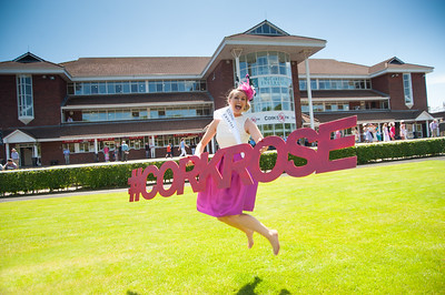 18th June 2017; Pictured is the 2016 Cork Rose, Denise Collins from Knocknaloman jumping for joy in the sunshine at Cork Racecourse Mallow on Sunday 18th June 2017. Photo by Sean Jefferies Photography.