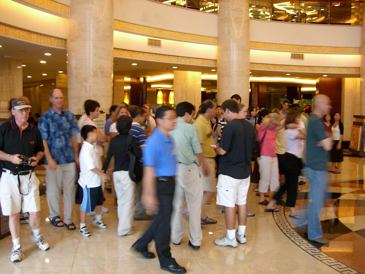 2006 07 15 Sat - Photo opp in Yong Jiang Hotel lobby