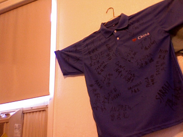 2007 09 18 Tue - Signed shirt on bedroom wall