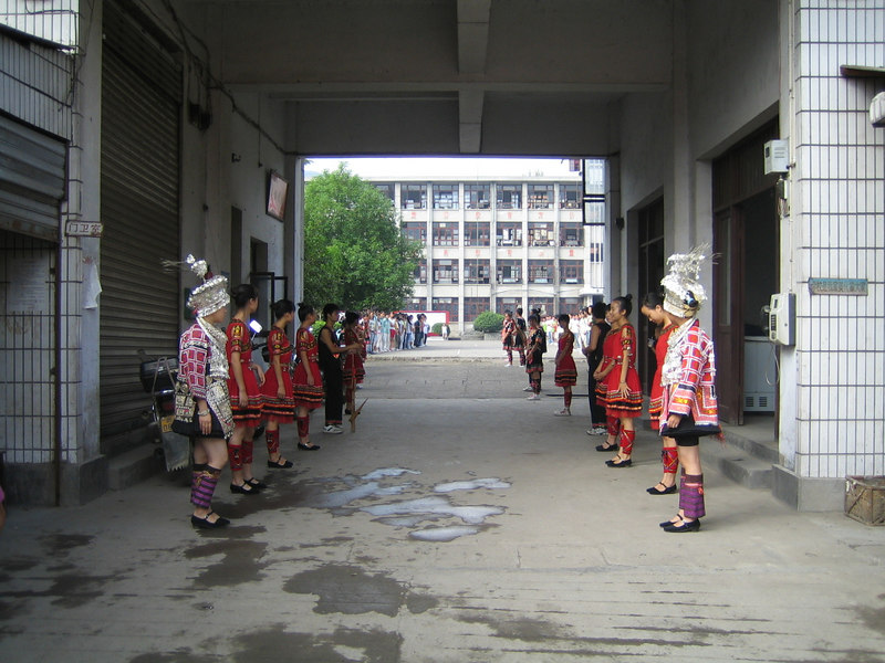 2006 07 31 Mon - Jian He high school traditional Miao people's welcome ceremony 1