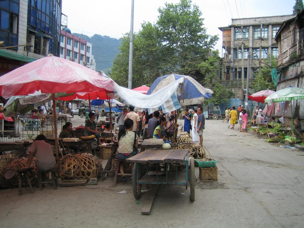 2006 07 30 Sun - Food market section of main intersection, aka bird flu central