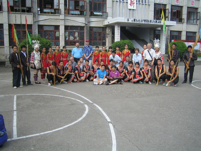 2006 07 31 Mon - Jian He high school traditional Miao people's welcome ceremony - group picture with teachers 1