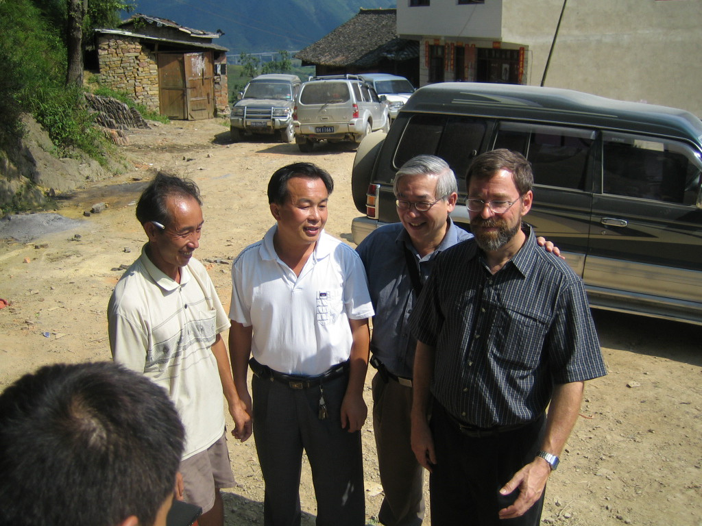 2006 07 30 Sun - Miao village - Tribal Chief, Religious Affairs official, Alfred Ng, & Bob Savage