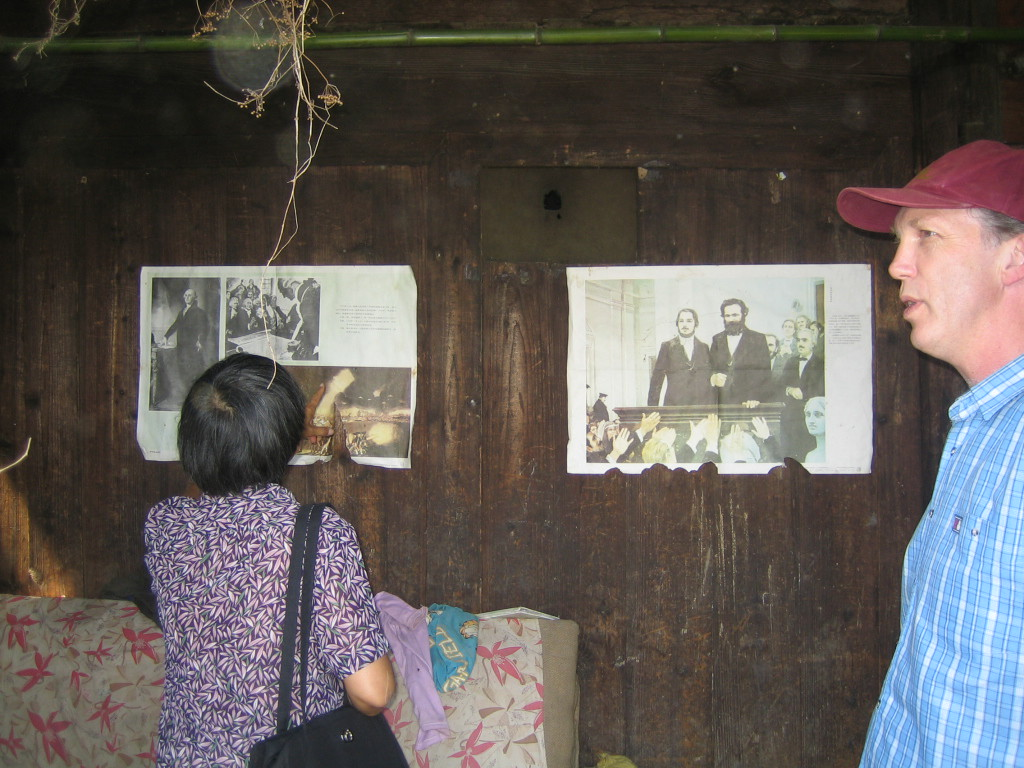 2006 07 30 Sun - Miao village - Side by side George Washington and Karl Marx posters - Lai-Yee Hom & Phil Arnold