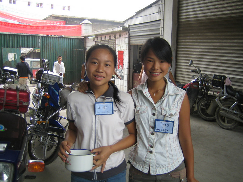 2006 08 02 Wed - Students Eileen & Lucy outside of student's canteen