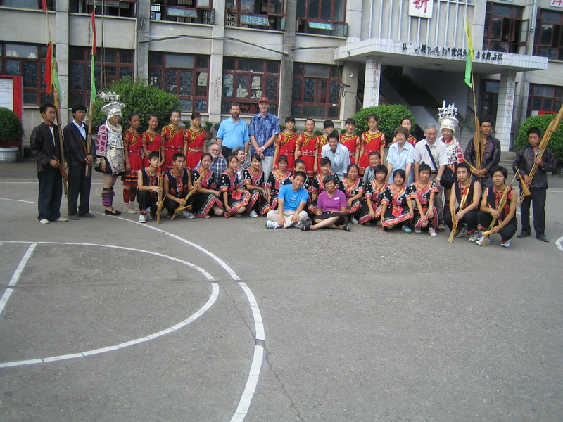 2006 07 31 Mon - Jian He high school traditional Miao people's welcome ceremony - group picture with teachers 2