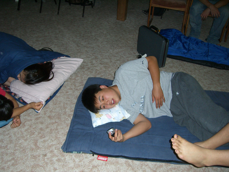 2006 07 08 Sat - Isaac Choi with his cell & sleeping bag