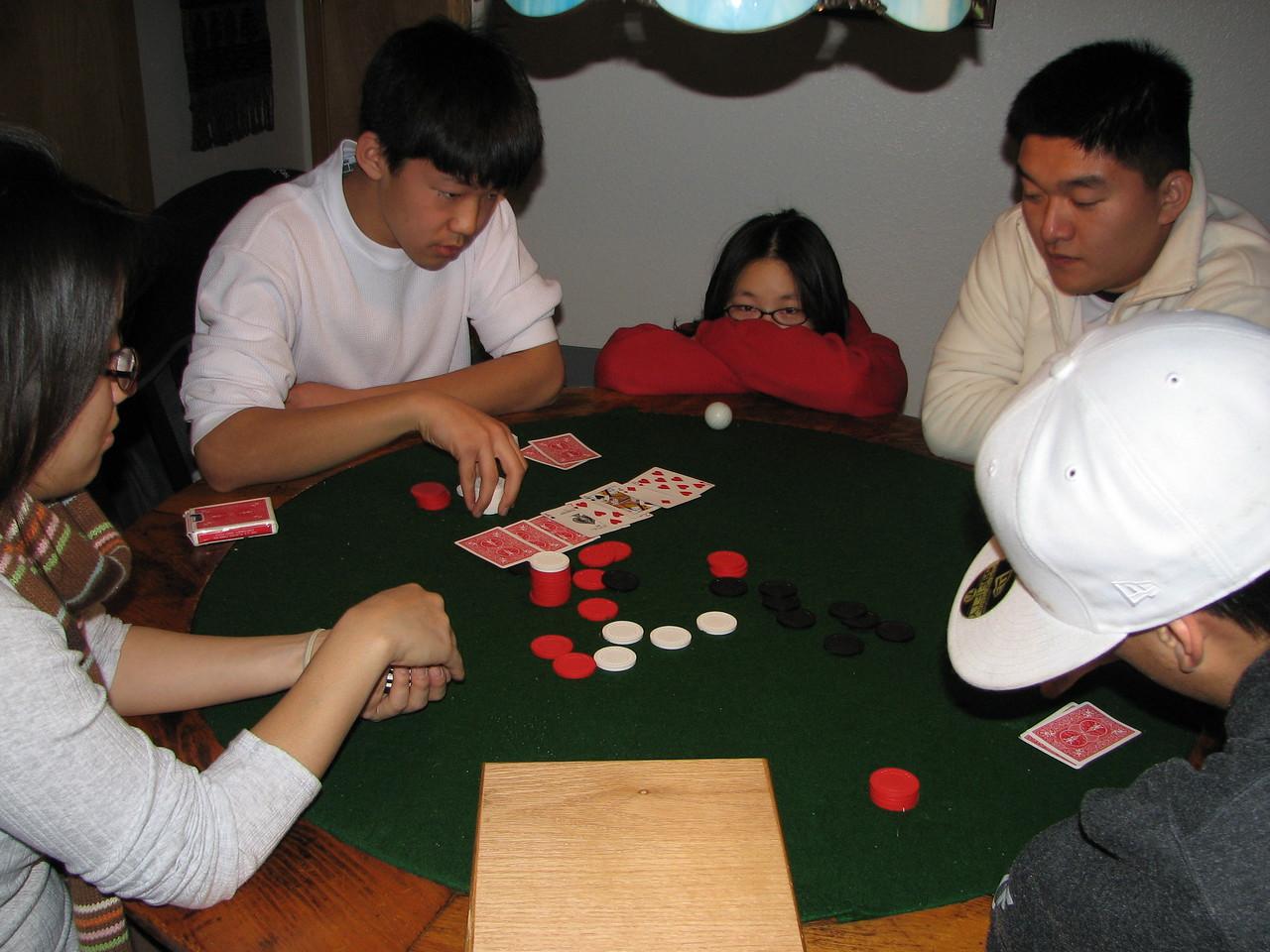 2006 12 20 Wed - Shinae Kim, Jay Lee, Angela Hsu, Dan Tung, & Ted Hong hold 'em Texas 1