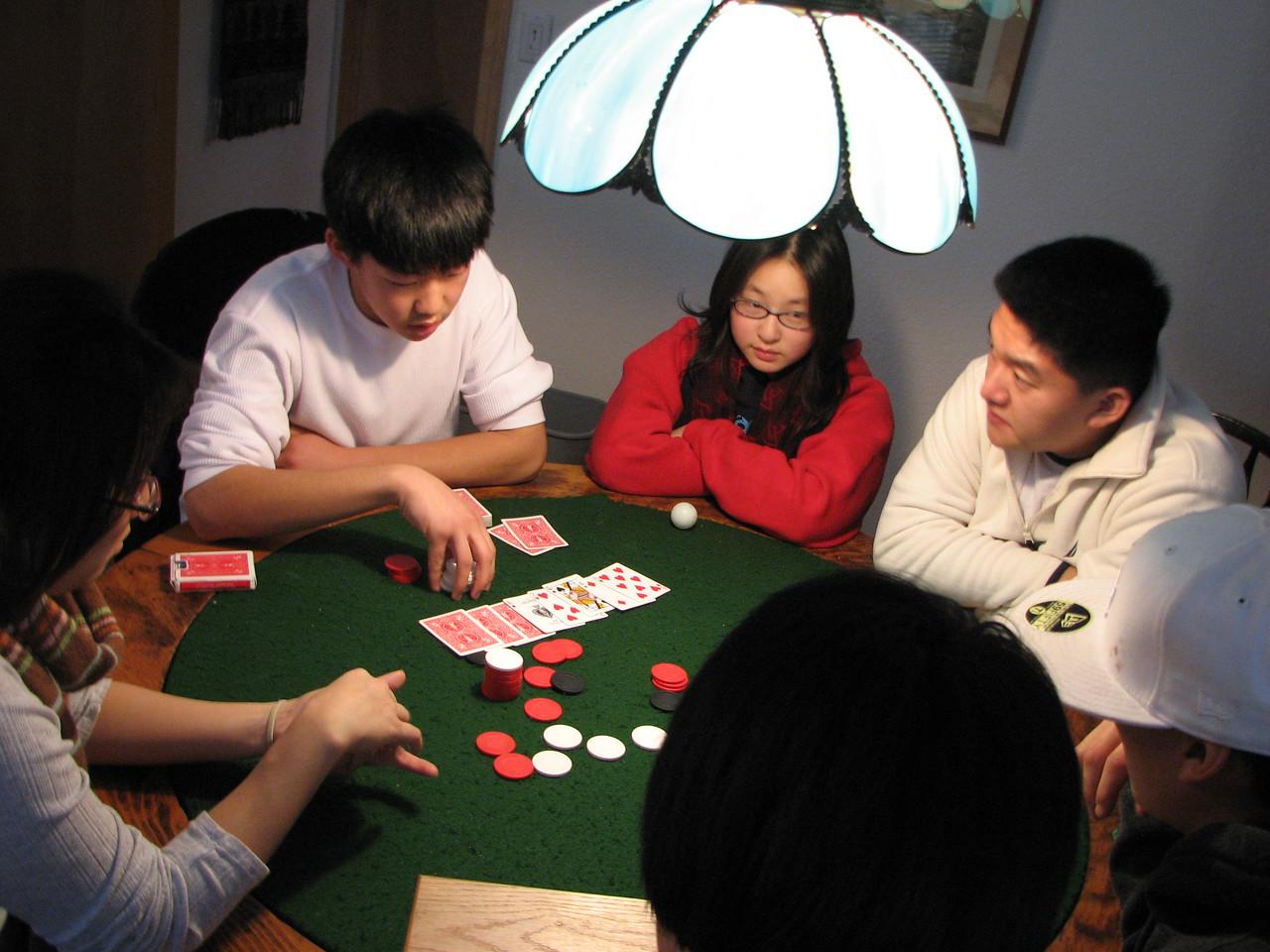 2006 12 20 Wed - Shinae Kim, Jay Lee, Angela Hsu, Dan Tung, & Ted Hong hold 'em Texas 2