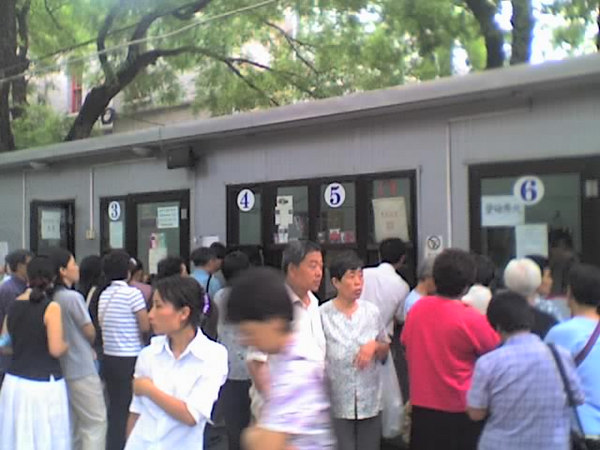 2006 08 13 Sun - Beijing 3 Self Church - Lines of people waiting to purchase sermon tapes-CD's