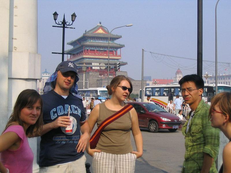 2006 08 19 Sat - Anne Kurrle, Thomas, Evelin, Ben Yu, & Miriam outside McDonald's in Beijing