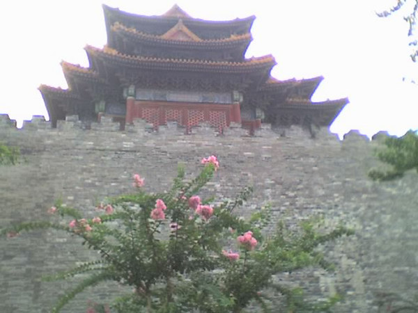 2006 08 15 Tue - Forbidden City corner tower, wall, & flowers