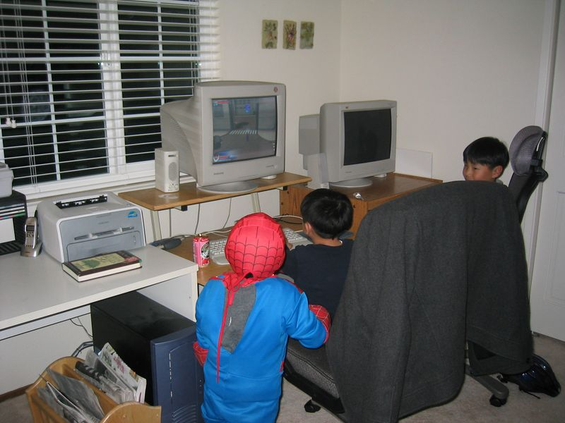2005 02 18 Friday - Spiderman watches older brother play a Spiderman game