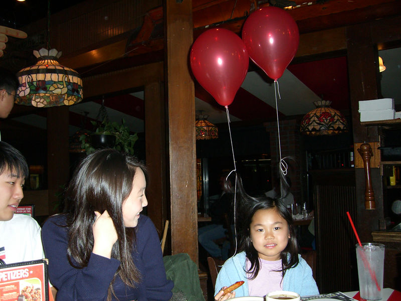 2006 01 14 Sat - Music Worship Team dinner @ TGIF's - Judy's birthday hair balloons 2