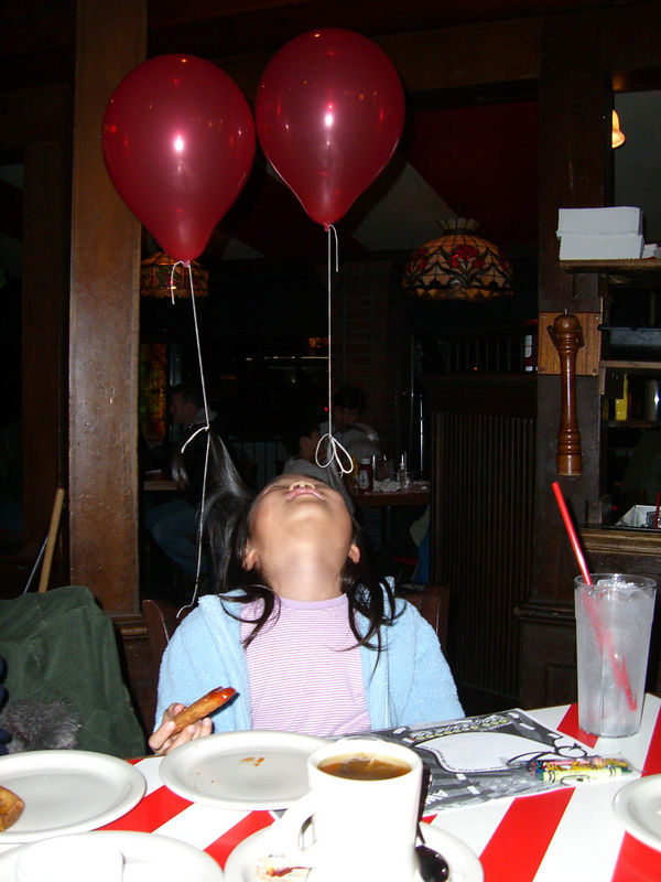 2006 01 14 Sat - Music Worship Team dinner @ TGIF's - Judy's birthday hair balloons 1