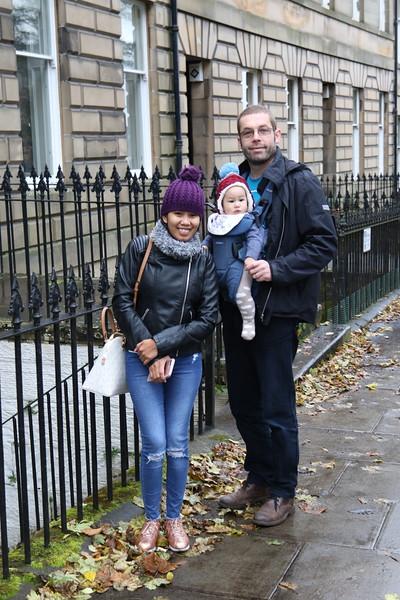 Family outside the Edinburgh flat