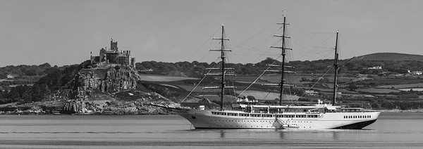 Luxury Cruise Ship The SeaCloud II moored in Mounts Bay