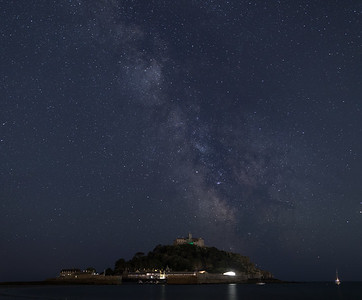Milky Way over St Michaels Mount, Mounts Bay Cornwall - 2