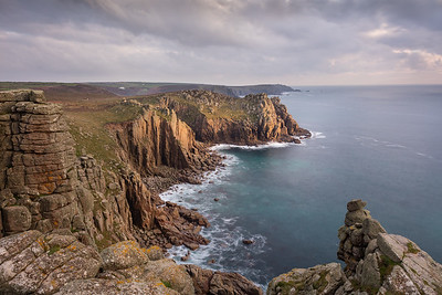 Last light over Zawn Trevilley, Lands End, Cornwall